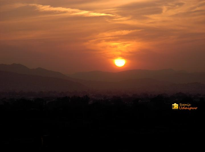 Sunset image captured from Apani Dhani, Udaipur.